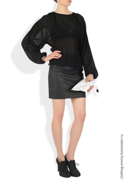 Блузки ручной работы. Ярмарка Мастеров - ручная работа. Купить Прозрачная черная блуза. Handmade. Черный, дизайнерская одежда, emmy
