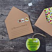 """Свадебный салон ручной работы. Ярмарка Мастеров - ручная работа Пригласительные """"с яблоками"""". Коричневый конверт.. Handmade."""