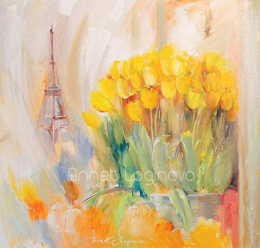 Картины цветов ручной работы. Ярмарка Мастеров - ручная работа. Купить Париж. Моменты. Handmade. Тюльпаны, розовые цветы