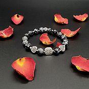 Украшения handmade. Livemaster - original item Bracelet with snow obsidian Heart. Handmade.