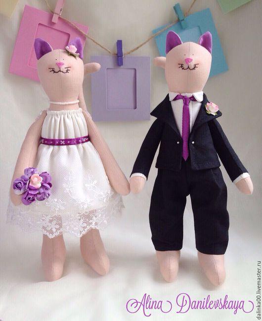 Куклы Тильды ручной работы. Ярмарка Мастеров - ручная работа. Купить Свадебные коты. Handmade. Комбинированный, тильда кот, бисер