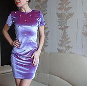 Одежда ручной работы. Ярмарка Мастеров - ручная работа Праздничное платье лавандового цвета с бусинами. Handmade.