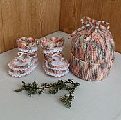 "Работы для детей, handmade. Livemaster - original item Hat and booties for newborn ""Melange"".. Handmade."
