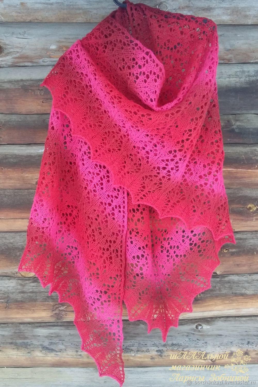 Shawl Raspberry wine knitting needles openwork, Shawls, Borskoye,  Фото №1
