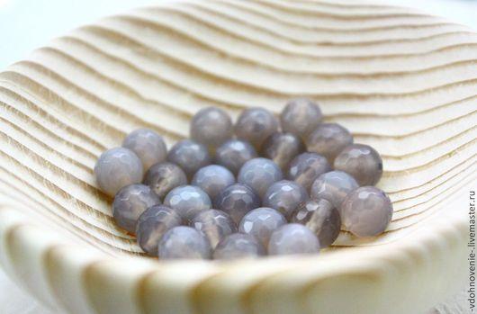 Для украшений ручной работы. Ярмарка Мастеров - ручная работа. Купить Бусина АГАТ серый гранёный шар 8 мм. Handmade.