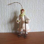 Подарки к праздникам ручной работы. Ярмарка Мастеров - ручная работа Девочка на лыжах. Ватные елочные игрушки. Handmade.