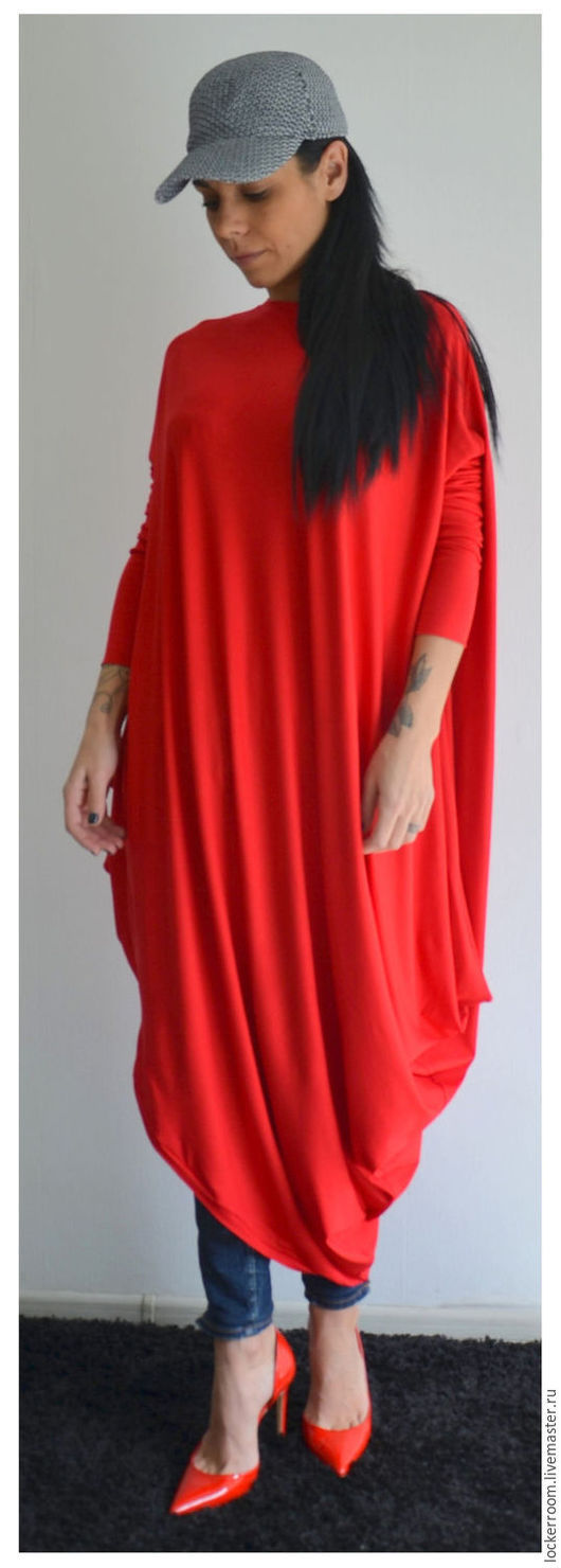 стильное платье, модное платье, красное платье мода 2016, дизайнерское платье, свободное платье, платье больших размеров
