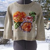 "Одежда ручной работы. Ярмарка Мастеров - ручная работа ""Винтаж"" льняная блуза с розами. Handmade."