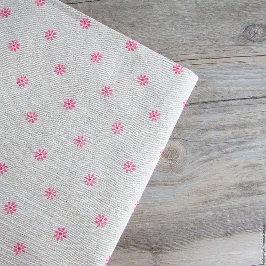 Ткань лен натуральный с рисунком Ромашка розовая