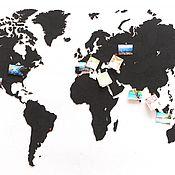 Для дома и интерьера handmade. Livemaster - original item World map puzzle Black 150 cm x 90 cm. Handmade.