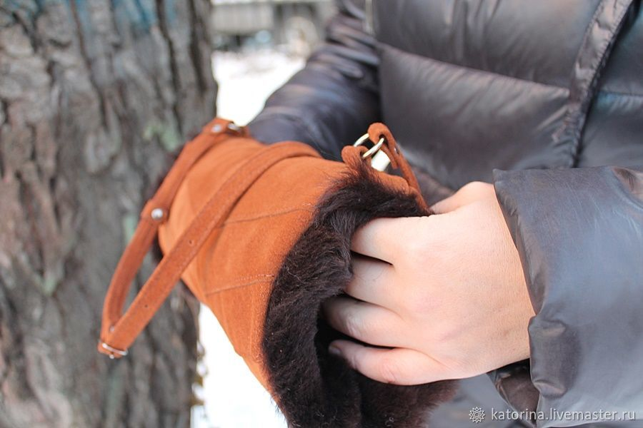 Clutch Hand bag made of suede with sheepskin fur Red Brown, Clutch, Moscow,  Фото №1