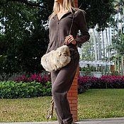 Одежда ручной работы. Ярмарка Мастеров - ручная работа Кашемировый костюм на молнии с капюшоном Кофейный. Handmade.
