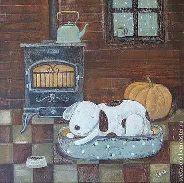 Картины и панно ручной работы. Ярмарка Мастеров - ручная работа А за окном то дождь, то снег. Handmade.