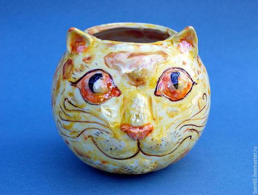 """Вазы ручной работы. Ярмарка Мастеров - ручная работа. Купить """"Лунный кот"""".Ваза. Handmade. Желтый, оригинальная ваза, луна"""