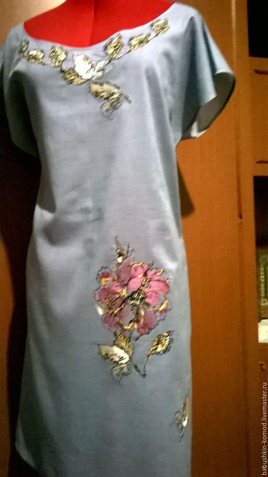 Платья ручной работы. Ярмарка Мастеров - ручная работа. Купить Вышитая туника (китайская роза) ЖТ5-044. Handmade. Серый