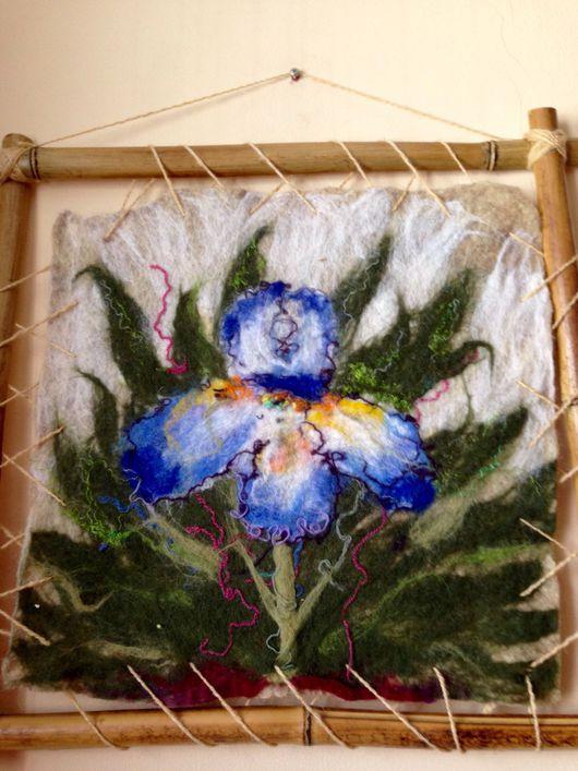 Картины цветов ручной работы. Ярмарка Мастеров - ручная работа. Купить Валяная небольшая картина Ирис. Handmade. Картина в раме