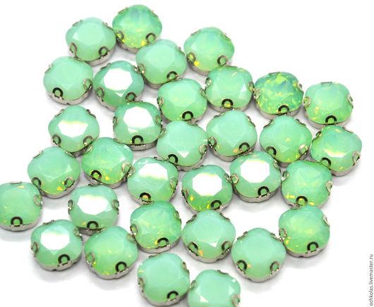 Для украшений ручной работы. Ярмарка Мастеров - ручная работа. Купить Стразы квадрат 12 мм в оправе зеленый опал. Handmade.