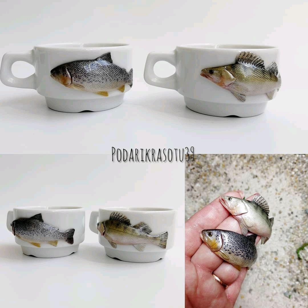 Кофейная чашка с декором из полимерной глины для любителей рыбалки, Кружки и чашки, Советск,  Фото №1