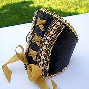 """Комплект браслетов ручной работы. Ярмарка Мастеров - ручная работа Кожаный браслет манжета  """"Кружевной корсет"""". Handmade."""