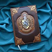 "Канцелярские товары handmade. Livemaster - original item Leather notebook ""HUFFLEPUFF"". Handmade."