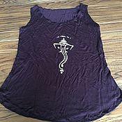 Одежда ручной работы. Ярмарка Мастеров - ручная работа Блуза топ из органического нежного хлопка шоколадный цвет Ганеш. Handmade.