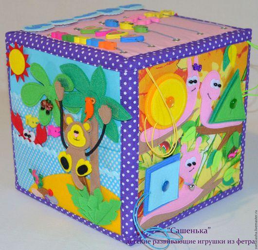 Развивающие игрушки ручной работы. Ярмарка Мастеров - ручная работа. Купить Развивающий кубик!. Handmade. Комбинированный, кубик, декоративные пуговицы
