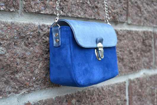 Женские сумки ручной работы. Ярмарка Мастеров - ручная работа. Купить Маленькая сумочка комбинированная. Handmade. Синий, натуральная кожа