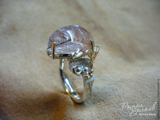 Кольца ручной работы. Ярмарка Мастеров - ручная работа. Купить Кольцо с рутиловым кварцем. Handmade. Кольцо с камнем, стильный аксессуар