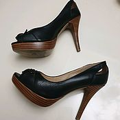 Винтаж handmade. Livemaster - original item Black leather shoes 37 p.. Handmade.