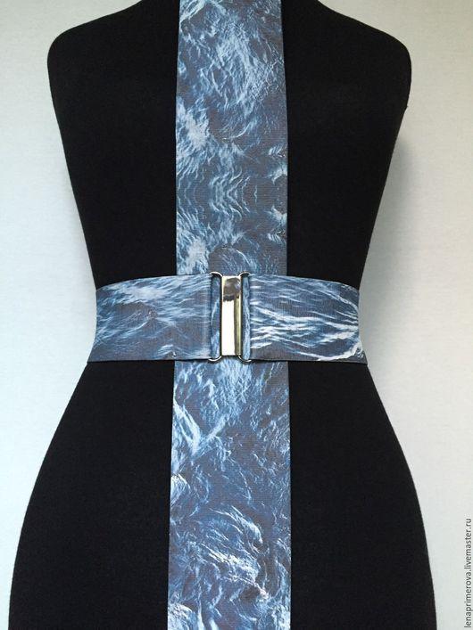 Пояса, ремни ручной работы. Ярмарка Мастеров - ручная работа. Купить пояса-резинки Синяя Вода высотой 60мм и 80мм, пряжки на выбор. Handmade.