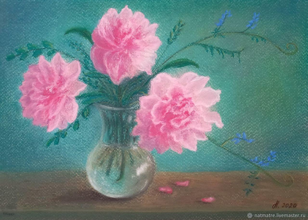 Пионы в вазе Картина пастелью, Картины, Тюмень,  Фото №1