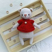 Куклы и игрушки handmade. Livemaster - original item Bear crocheted in a red blouse. Handmade.