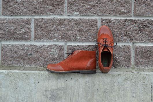 Обувь ручной работы. Ярмарка Мастеров - ручная работа. Купить Женские ботинки комбинированные рыжие. Handmade. Рыжий, минимализм