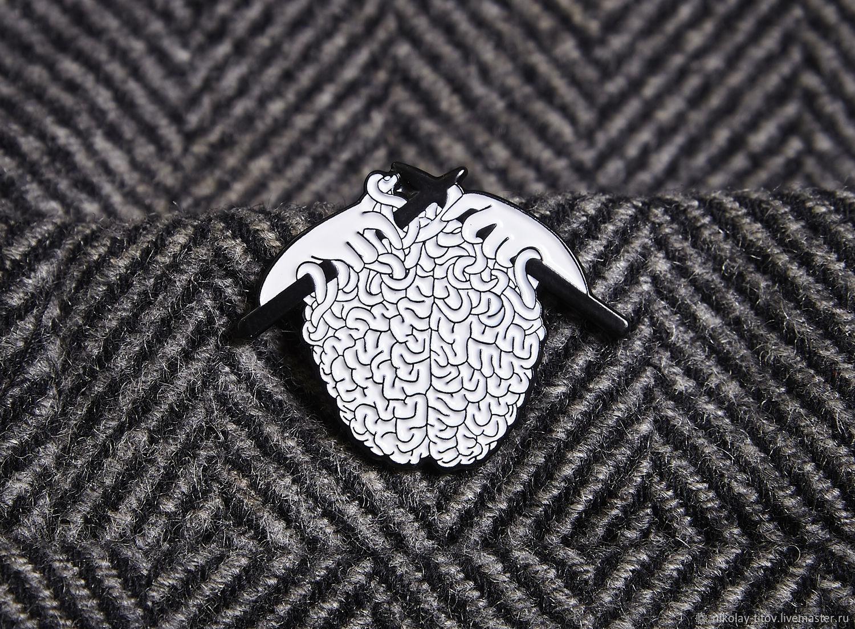 Значок Интеллект, мозги неокортекс вязание эмаль, Значок, Москва,  Фото №1