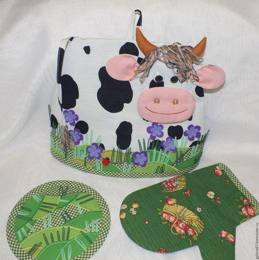 """Кухня ручной работы. Ярмарка Мастеров - ручная работа. Купить """"Коровка на Лугу"""" грелка на чайник. Handmade. Корова, грелка для чайника"""