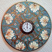Часы классические ручной работы. Ярмарка Мастеров - ручная работа Часы Пионы. Handmade.