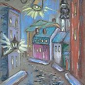 """Картины и панно ручной работы. Ярмарка Мастеров - ручная работа Графика """"Вечерний город"""" формат А4. Handmade."""