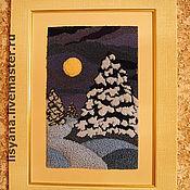 """Картины и панно ручной работы. Ярмарка Мастеров - ручная работа Картина """"Лесная красавица зимней ночью"""". Handmade."""