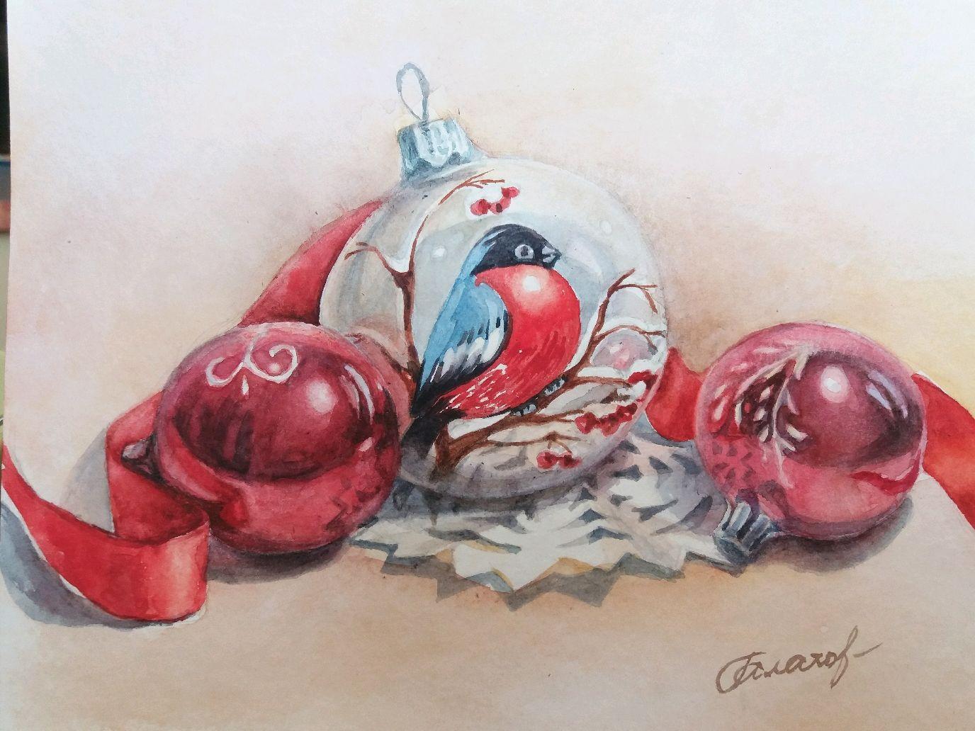 Акварель Новогоднее настроение, Картины, Санкт-Петербург,  Фото №1
