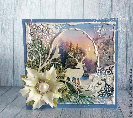 Открытки к Новому году ручной работы. Ярмарка Мастеров - ручная работа. Купить Новогодняя открытка с оленем. Handmade. Голубой
