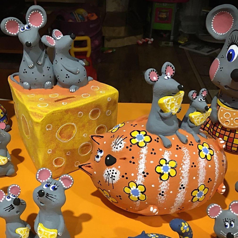 Копилки «Кот с мышами», «Мышки на сыре», Копилки, Ветлуга,  Фото №1