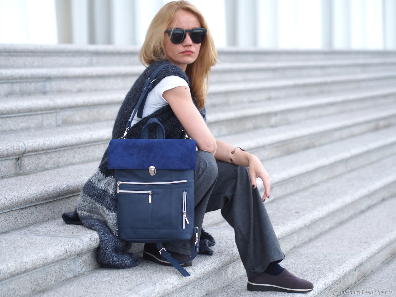 Copy of Copy of Lucerne Leather Backpack - Handbag blue, Backpacks, St. Petersburg,  Фото №1