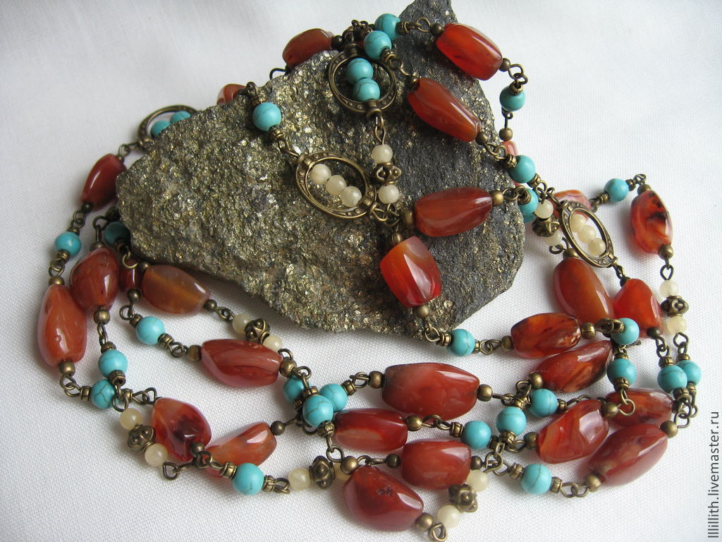 set with carnelian, turquoise, and jadeite, Jewelry Sets, Moscow,  Фото №1