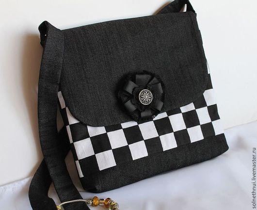 сумка для девочки, текстильная сумка, джинсовая сумка, сумка для девушки, женская сумка ручной работы. сумочка для девушки. сумка в клетку