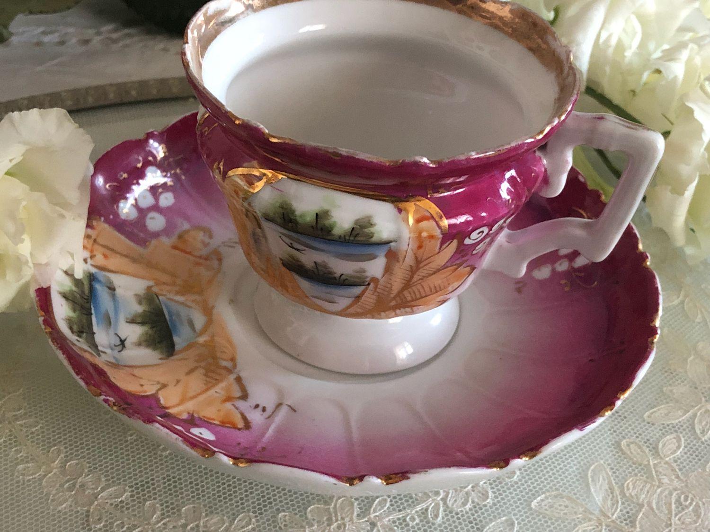 Винтажная посуда. Ярмарка Мастеров - ручная работа. Купить Винтаж: Красивая чайная пара Кузнецова. Handmade. Живопись, позолота, гарднер