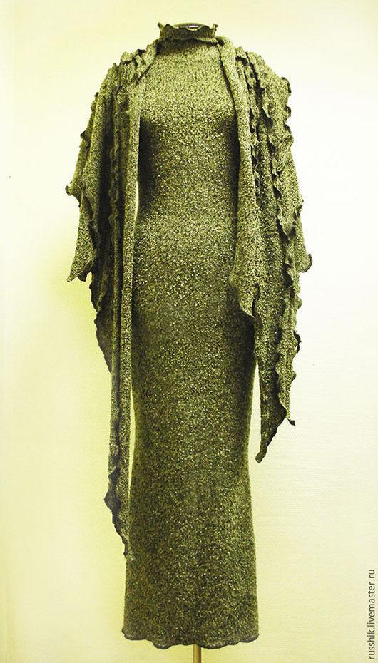 Платья ручной работы. Ярмарка Мастеров - ручная работа. Купить Платье и палантин из трикотажного полотна. Handmade. Оливковый, шерсть
