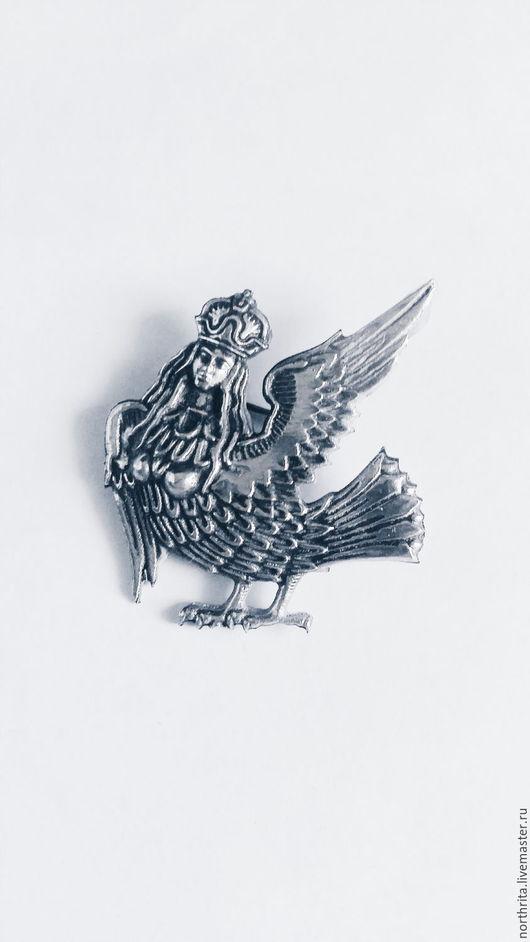 """Броши ручной работы. Ярмарка Мастеров - ручная работа. Купить Брошь """"Птица Гамаюн"""". Handmade. Белый, серебро, птичка, серебряный"""