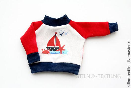 """Одежда для кукол ручной работы. Ярмарка Мастеров - ручная работа. Купить Свитшот для куклы """"Морской стиль"""" Караблик. Handmade."""