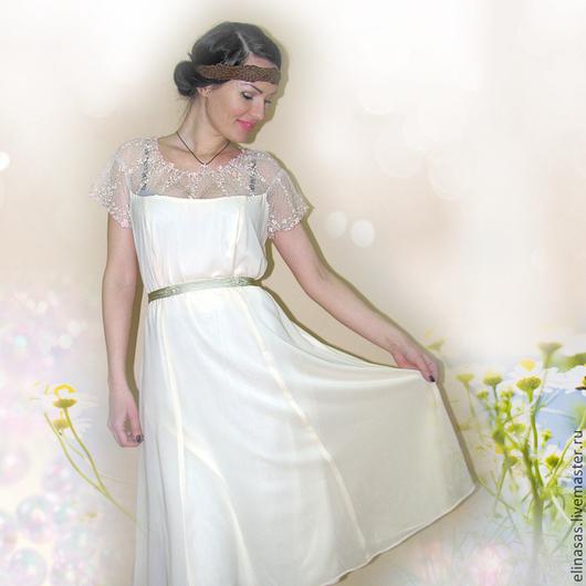 Платья ручной работы. Ярмарка Мастеров - ручная работа. Купить Платье легкое и воздушное. Handmade. Однотонный, кремовый