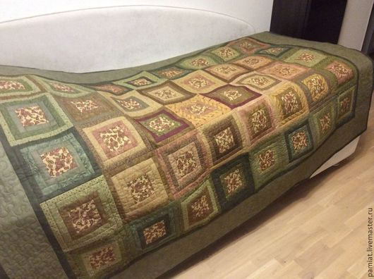 Текстиль, ковры ручной работы. Ярмарка Мастеров - ручная работа. Купить Одеяло для души и дачи. Handmade. Хаки, печворк